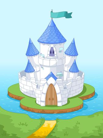 castillos de princesas: Ilustración del castillo de la princesa mágica en la isla Vectores