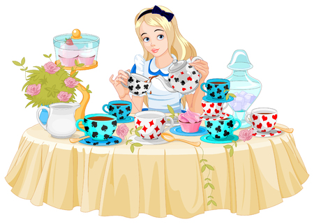 Alice pours a cup of tea from the kettle Ilustrace