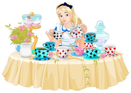 Alice verse une tasse de thé de la bouilloire Banque d'images - 45819914