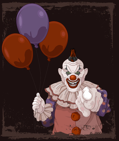 stage costume: The scary clown holds balloons Illustration