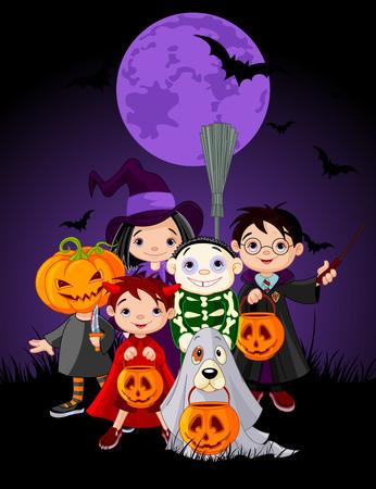 brujas caricatura: Halloween de los niños a pedir dulces en disfraz de Halloween