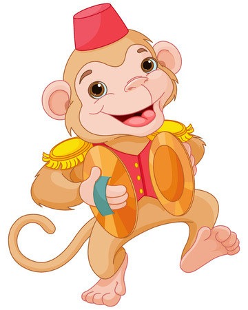 cymbals: Illustration of cute monkey playing percussion hand cymbals
