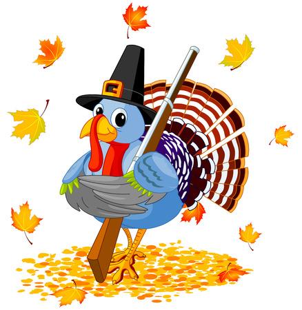 strut: Illustration of cute Pilgrim turkey holds rifle