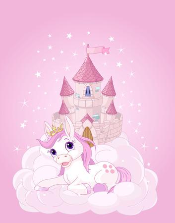 ピンクの妖精の城とユニコーンのイラスト  イラスト・ベクター素材