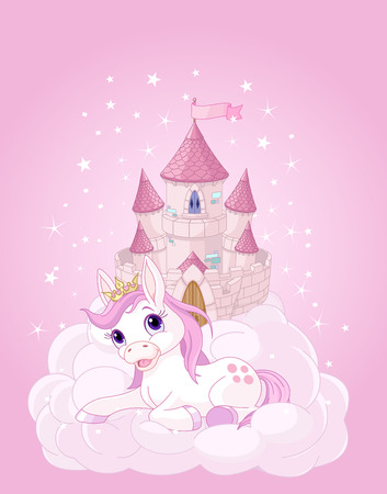 Illustration of the pink fairy castle and unicorn Stock Illustratie