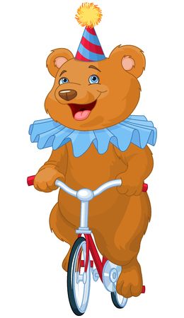 velocipede: Illustration of cute bear on bicycle