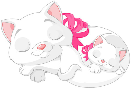 purring: Illustration of cute white cats are seeping Illustration
