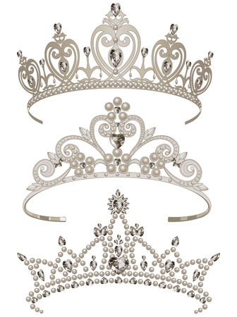crown: Illustration of shining tiaras set
