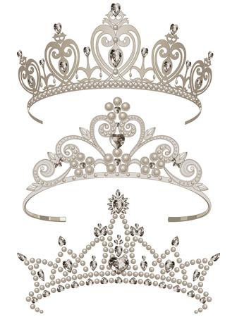 diadem: Illustration of shining tiaras set