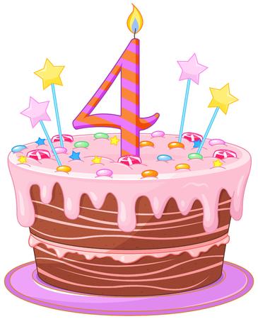 pastel de cumpleaños: Ilustración de la torta de cumpleaños decorada