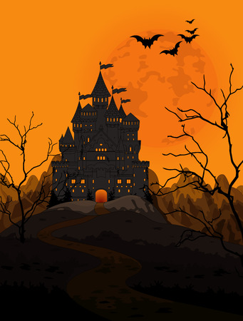 spooky house: Illustration of spooky haunted kingdom on night background