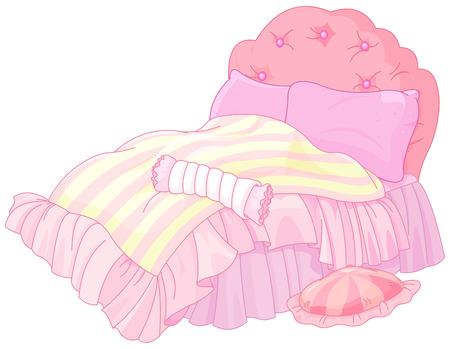 Illustration of magic princess bed