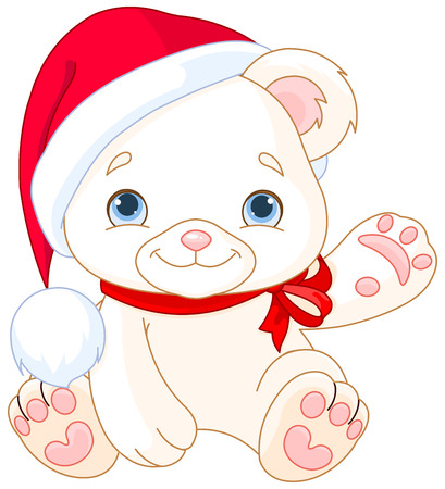 stuffed animals: Christmas Polar Bear cub waiving hello
