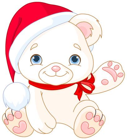waiving: Christmas Polar Bear cub waiving hello