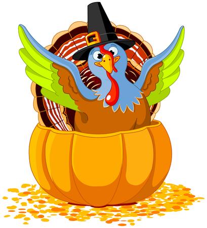 Illustration of cute Pilgrim turkey into pumpkin Ilustracja