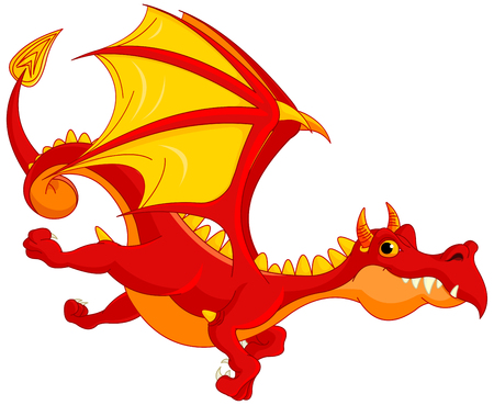 the red dragon: Illustration of cute dragon flying