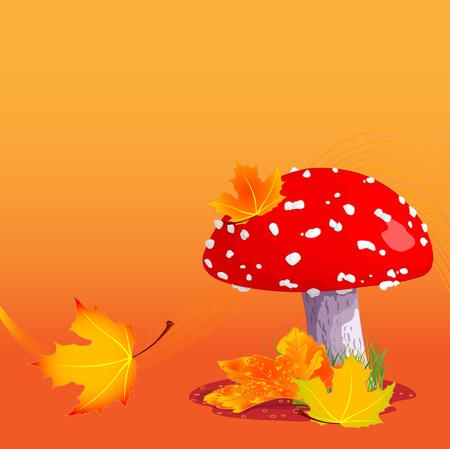 autumn background: Illustration of amanita on autumn background Illustration