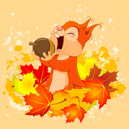 eats: Illustration of cute squirrel eats nut on autumn background