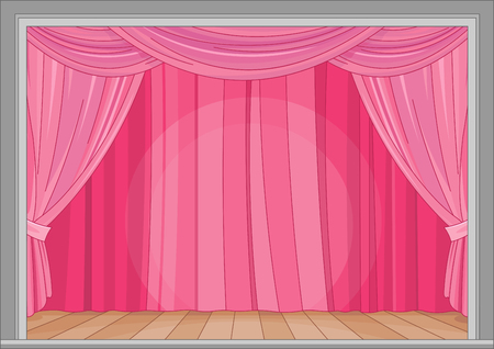 Illustration of stage with red curtain