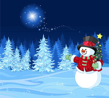 Sneeuwman in de winter scène uitschakelen ster