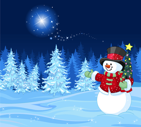 Snowman in winter scene Shutting star