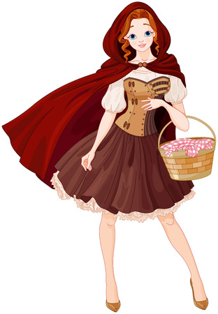 Illustration of beautiful girl dressed like Little Red Riding Hood