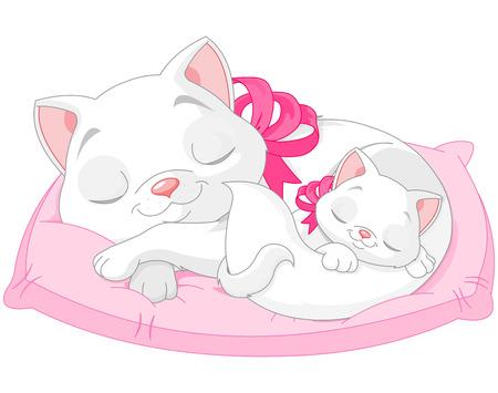 Illustratie van leuke witte katten zijn sijpelt