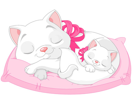 Illustration of cute white cats are seeping Vectores