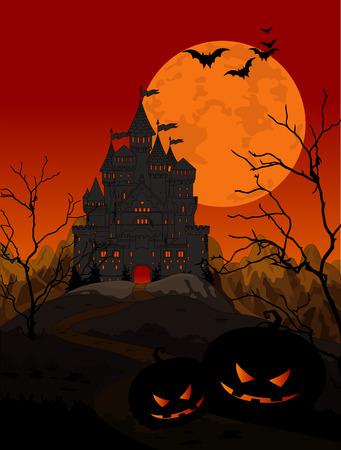 night background: Illustration of spooky haunted kingdom on night background