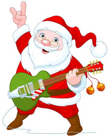 gitara: Ilustracja cute Mikołaj gra na gitarze Ilustracja