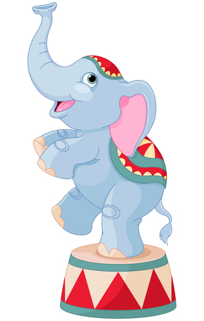 juggle: Illustration of cute circus elephant on pedestal