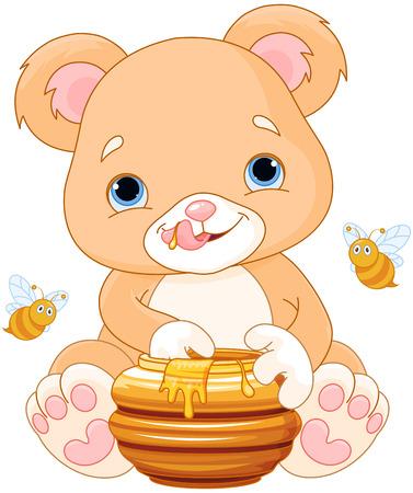 eats: Illustration of cute bear eats honey
