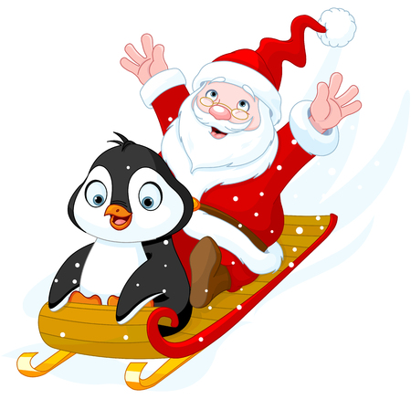 santas sleigh: Illustration of Santa Claus and Penguin in sled