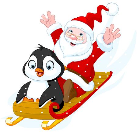pinguinos navidenos: Ilustración de Papá Noel y pingüino en trineo