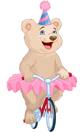 animal tutu: Illustration of cute bear on bicycle