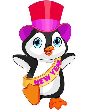 plug hat: Illustration of New Year baby penguin