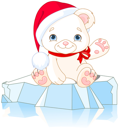 floe: Christmas Polar Bear sits on ice floe and waiving hello