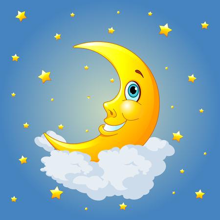 luna caricatura: Luna sonriente en el fondo radial Vectores