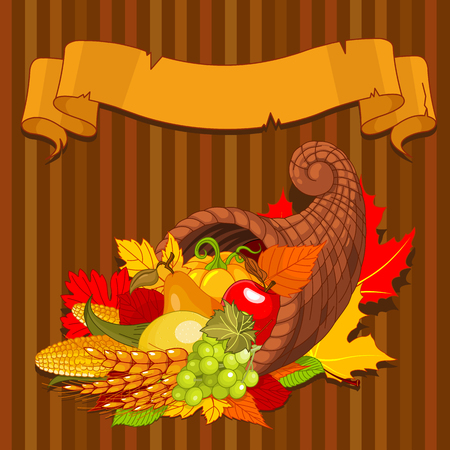 harvest cone cornucopia: Thanksgiving background with cornucopia full of harvest fruits and vegetables Illustration