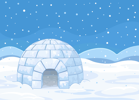 Illustration of an igloo on winter background Vettoriali