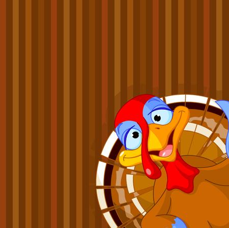 strut: Illustration of cute turkey on striped background
