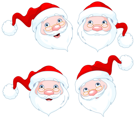 santa claus face: Set of four Santa Claus Face Expressions