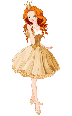 girl in red dress: Illustration of beautiful princess dressed gold gown