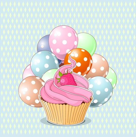 cupcake illustration: Illustration of sweet cupcake, strawberry and balloons
