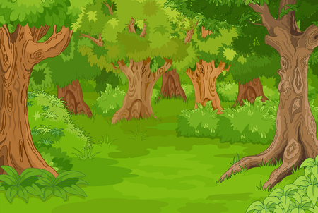 Illustration of amazing forest glade Stok Fotoğraf - 48171101