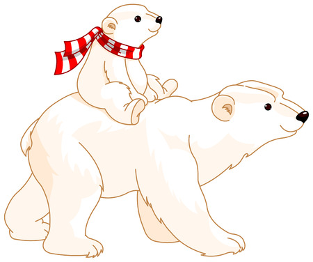 Polar Bear mom and baby riding on her back Illustration