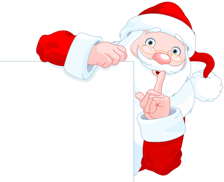 holds: Illustration of cute Santa Claus holds sing