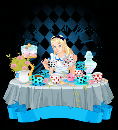 cupcake illustration: Alice pours a cup of tea from the kettle Illustration