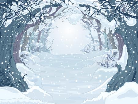 木々 の冬の森風景