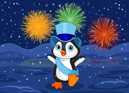 plug hat: Illustration of New Year baby penguin on abstract fireworks design